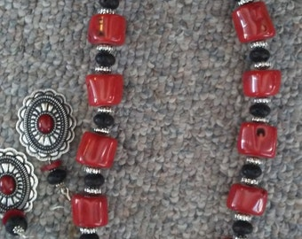 Gemstone necklace (red coral and black lava)
