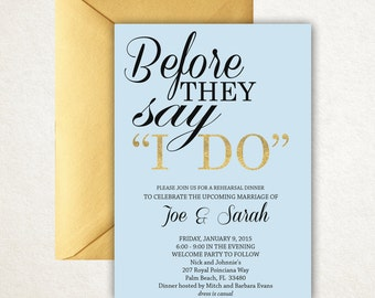 Blue + Gold rehearsal dinner invitation