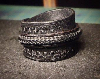 Bold Leather Cuff Bracelet • Braided Closure • Handmade • MM1