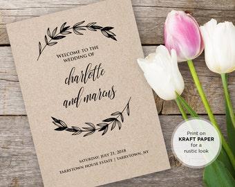 Wedding Program Printable, DiY Rustic Kraft Ceremony Program Template, INSTANT DOWNLOAD, Editable Text, PDF Template, Digital Download