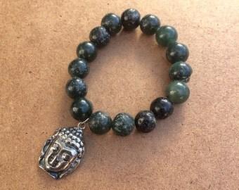 Tibetan Dark Green Buddha Bracelet - Power Bead Bracelet - Buddha Charm Bracelet - Gemstone Bracelet