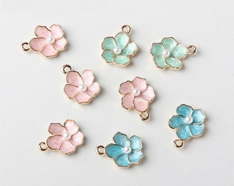 8 pieces 14 mm Alloy metal floral Charm  , diy jewelry materials, cute flower charm (1-230)