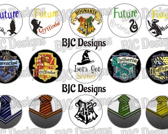 Harry Potter inspired bci, bottle cap image, digital bottle cap, HP houses bci, gryffindor bci, hufflepuff bci, slytherin bci, hogwarts bci