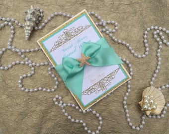 SAMPLE- Beach wedding invitation, Gold wedding invitation, boxed wedding invitation, Gold and aqua wedding invitation
