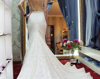 Vizantia Wedding dress,  mermaid wedding dress,  open back wedding dress, lace wedding dress, long tail wedding dress, capuchino wedding
