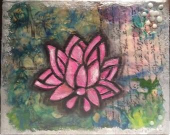 Lotus flower ~ Encaustic painting, mixed media art
