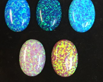 25x18 oval cabachon synthetic opal colors