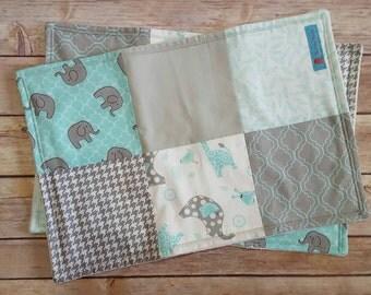Baby Boy burp cloths, Gray Elephant burp cloths, Blue and Gray burp cloths, Boy burp cloth set, Elephant baby gift, Blue Elephant burp cloth