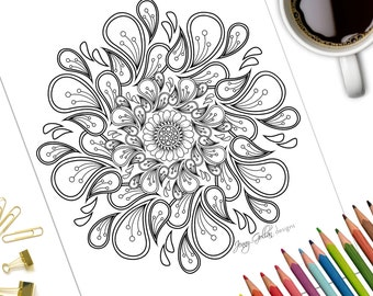 Printable Adult Colouring Page Festival