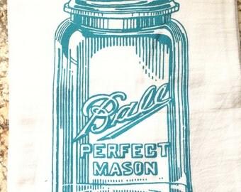 Vintage Ball Jar Blue Glass Dish Towel Flour Sack Tea Towel