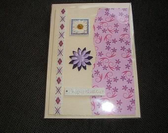 Personalised Handmade Birthday card Purple flower