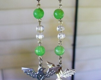 Handmade Earrings with Green Beads