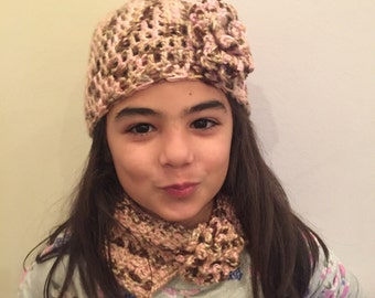 Handmade crochet hat with flower and matching scarf You choose size and color