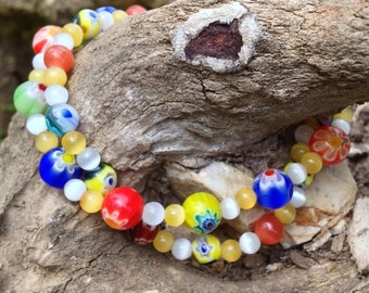 CLEARANCE***Unique multi-colored lampwork beaded bracelet