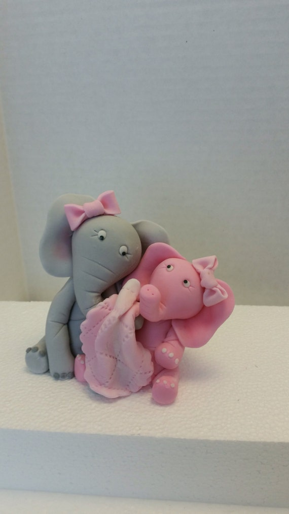 Edible Elephant Cake Decorations : Mommy and baby elephant edible cake topper