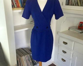 Royal Blue 80s Vintage Mini Dress