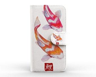 iphone case detachable leather wallet for apple iphone 5 5s 5c 6 6s plus japanese carp fish