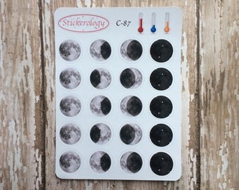 Moon Phase Stickers, Full Moon Planner Stickers, New Moon Stickers, C-87.