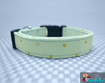 Seafoam Hearts Dog Collar