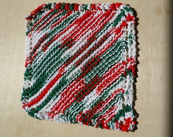 Colorful cotton hand knit dishcloths