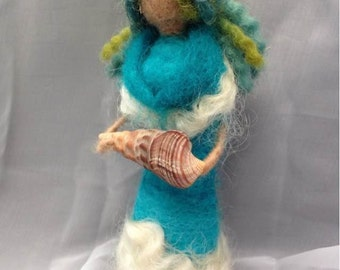 Ocean Goddess Waldorf/Steiner Needle Felted Wool Doll