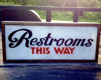 Midcentury Modern Restroom Sign Custom Light Box