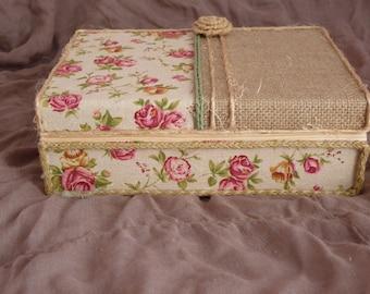 Handmade wooden Book box,Floral Book box, fabric box,romantic-rustic Book box, jewelry storage box, Gift box for women, jewelry box,