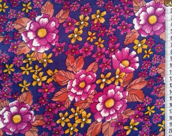 patchwork fabric by the yard, quilting cotton, flower meadow, red meadow, yardage, small flowers, clothing fabric, home decor fabric, quilt