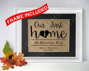 First Home - Personalized Family Name Sign WITH FRAME - Burlap Housewarming Print - Burlap First Home Gift- New Home - House Warming Gift