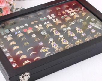 Ring Storage Display Box Jewelry Organizer Case