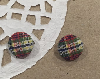 Tartan, fabric, stud earrings