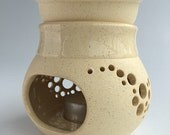 Fine Collectible Wheel Thrown 2-Piece Flameproof Stoneware Ceramic Lantern Aroma Therapy Oil Burner in Natural Finish