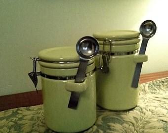 Ceramic Oggi Canister Set of 2-Soft Green