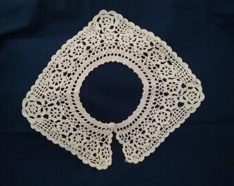 Crocheted Collar-Brite White- 1 Square & 1 Round