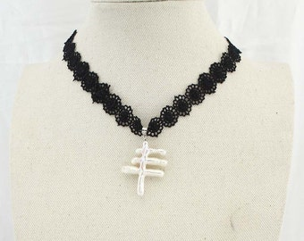 Natural Chinese character pearl black lace necklace, spring lace necklace, black lace necklace, pearl lace necklace, X 514