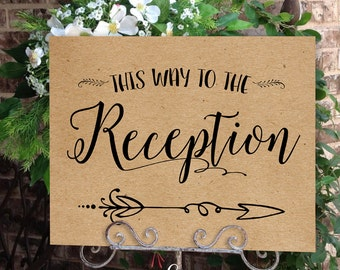 Reception Wedding Poster - INSTANT DOWNLOAD - Wedding Art, Wedding Poster, Arrow, Wedding Sign, Brown Kraft Paper Sign