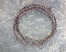 36  feet of rustic rusty reclaimed barbed wire for wreaths or crafts