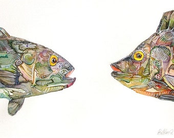 fish Original painting,fish watercolor painting, large Original painting,fish couple,fish wall art,Watercolor Fish Painting, Decor,Aqua Art