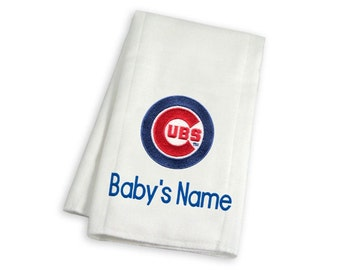 Personalized Chicago Cubs Baby Burp Cloth