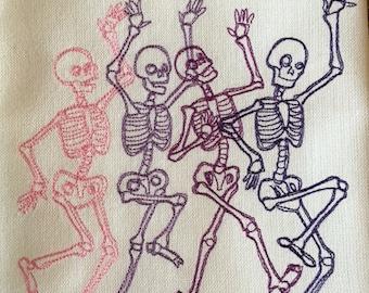 HALLOWEEN - Skeleton Dance - Kitchen Dish Towel, Tea or Bar Towel, Guest Towel