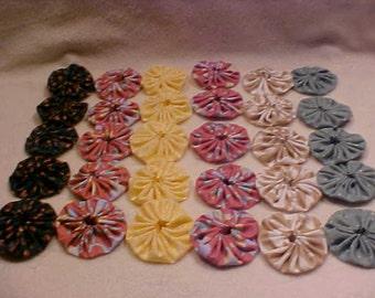 "1 & 3/4"" Fabric Flowers 30 YoYo Green Yellow Vintage Quilt Headband Wedding Rosette Hair Clip Bow Bobby Pin Scrapbook Wholesale Handmade A2"