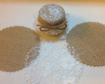 50 X jam Wedding favour  lid top covers + twine/bands/labels Hessian+lace