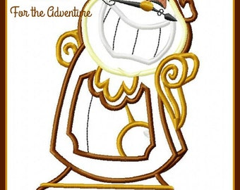 Cogsworth the Clock from Beauty and the Beast Digital Embroidery Machine Applique Design File 5x7 6x10