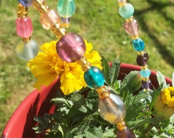 Small Glass Beaded Garden Stakes- set of 2