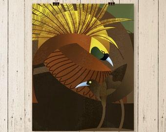 Greater Bird of Paradise print, tropical bird poster, tropical bird art, exotic bird painting, bird painting, home art, wall art, wall decor