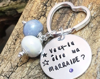 Hand Stamped Veux-tu être ma Marraine?, Personalised  French Godmother Keyring