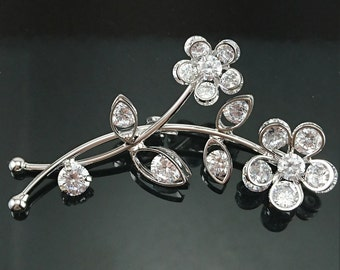 Silver Plated Zirconia Crystal Flowers Brooch Pin for Women