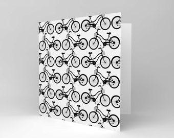New Cute Black White Retro Bike Bicycle Pattern Greetings Birthday Card CS040