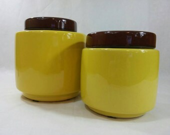 McCoy Pottery Lemon Yellow and Walnut Brown Ceramic Canister #214 Kitchen Jar Cookie Jars