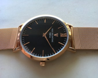 PV Watch Rose Gold Black with a interchangeable Stainless Steel Mesh Strap